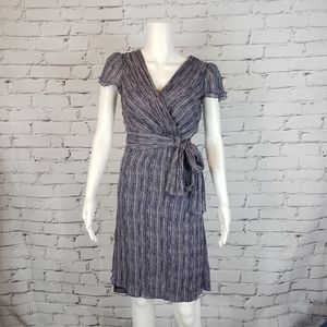 Tory Burch Purple Print Silk Faux Wrap Dress